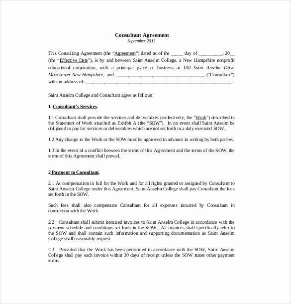 Consulting Contract Template Free Lovely 14 Consultant Agreement Templates Word Pdf Pages