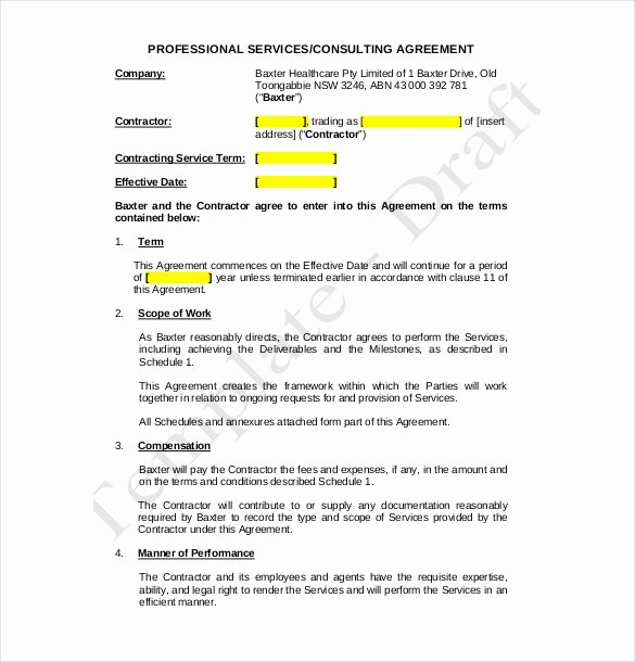 Consulting Contract Template Free Lovely Consulting Agreement Template – 10 Free Word Pdf