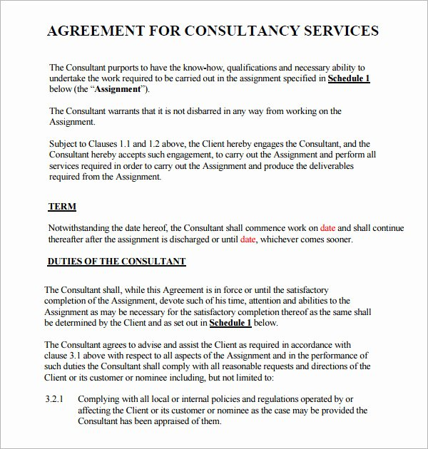 Consulting Contract Template Free New Consulting Agreement 7 Free Pdf Doc Download