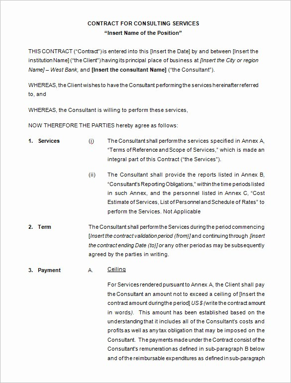 Consulting Report Template Microsoft Word Fresh 10 Consulting Contract Templates Pdf Doc