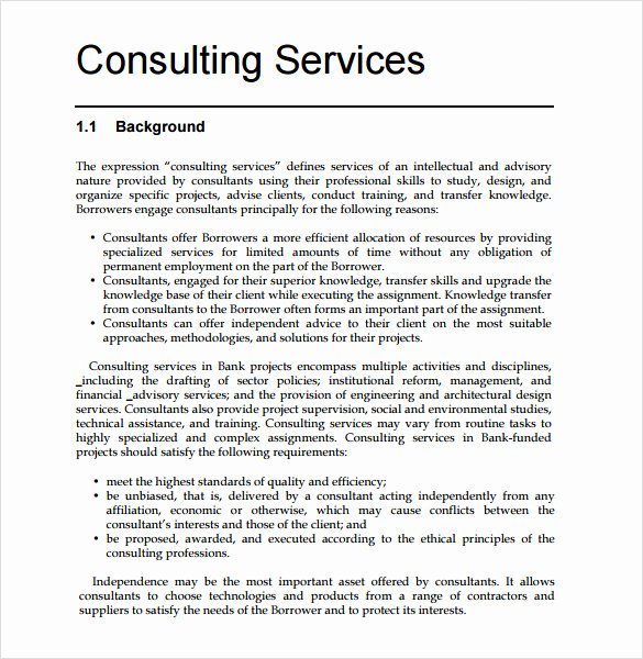 Consulting Report Template Microsoft Word Inspirational Consultant Proposal Template 7 Download Documents In Pdf