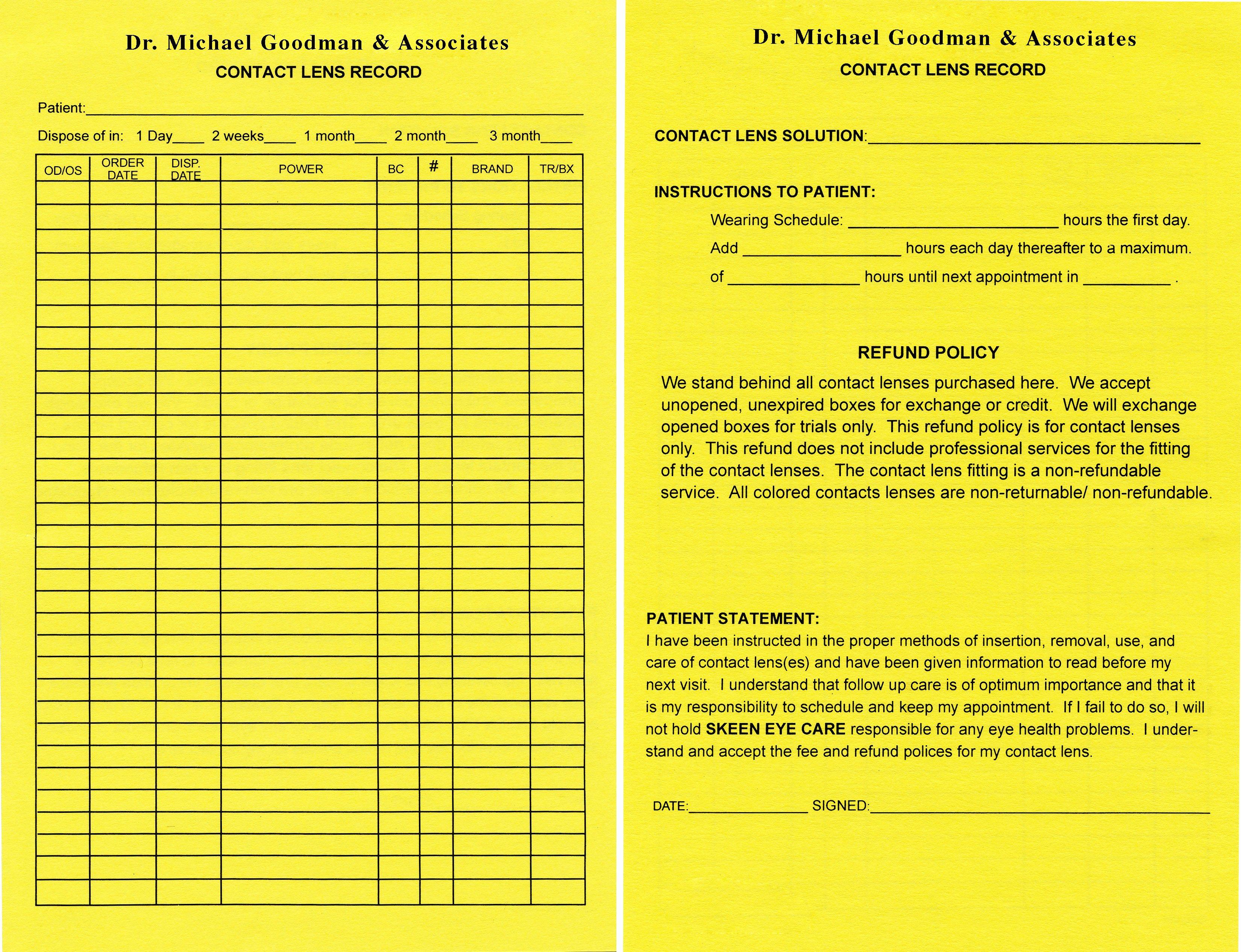 Contact Lens Prescription Template Best Of Keskes Printing Optometrists