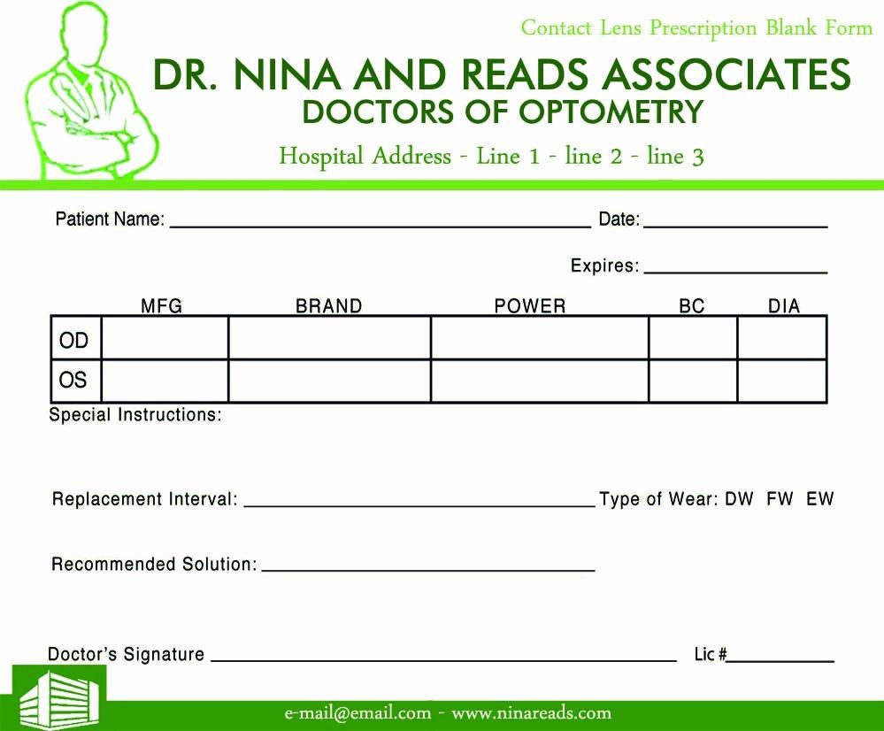 Contact Lens Prescription Template Fresh Blank Prescription Pad Image Sample