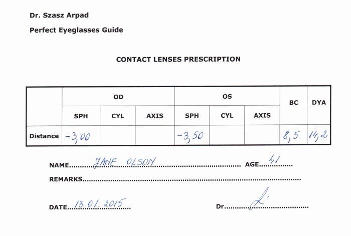 Contact Lens Prescription Template Inspirational Eyeglass Prescription Understand All the Parameters