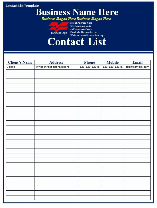 Contact List Excel Template Awesome Contact List Template Free formats Excel Word