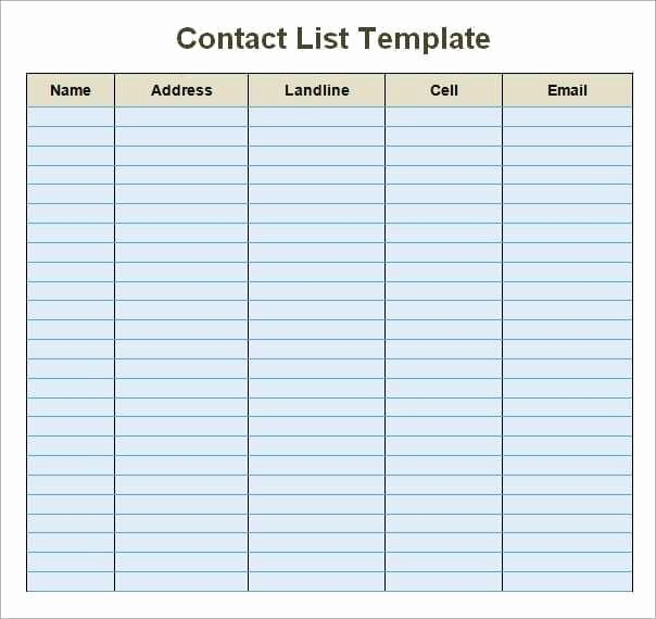Contact List Excel Template Elegant 24 Free Contact List Templates In Word Excel Pdf
