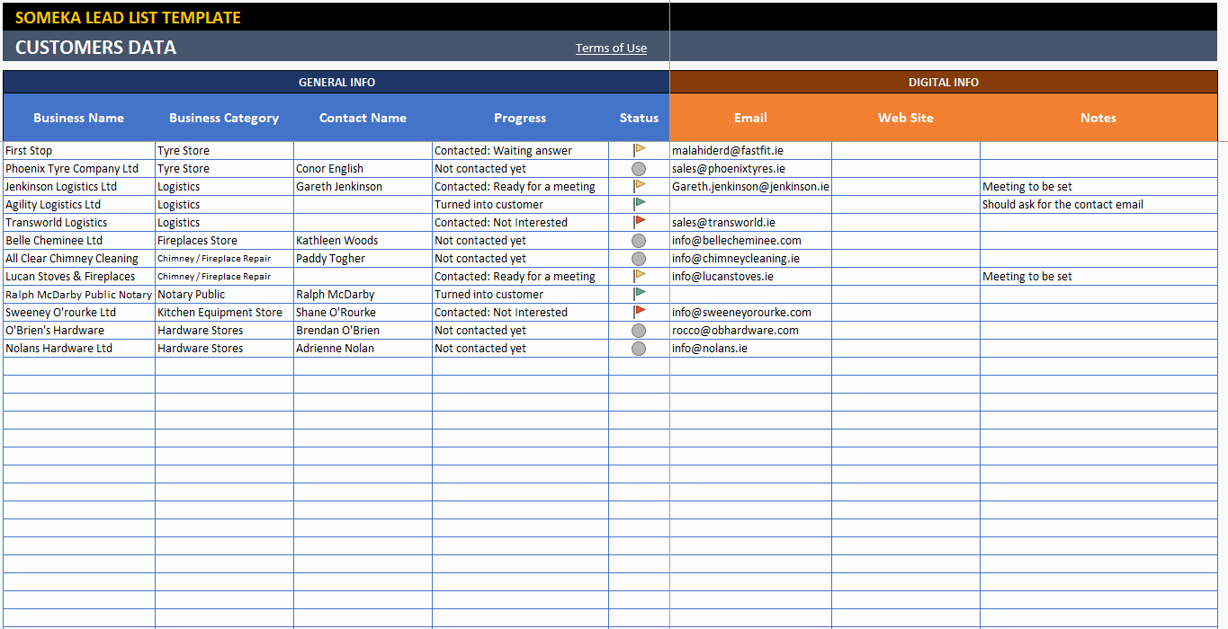 Contact List Excel Template Fresh Lead List Excel Template for Small Business