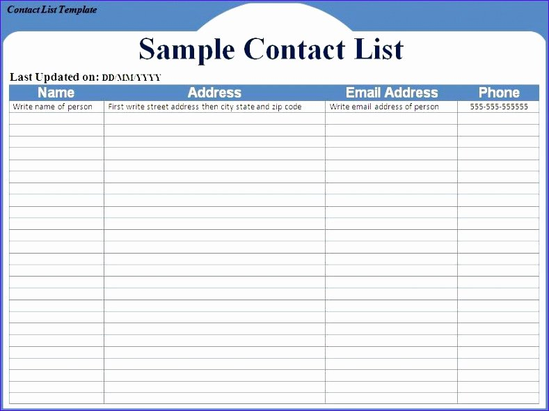 Contact List Excel Template Inspirational 12 Excel Address List Template Exceltemplates