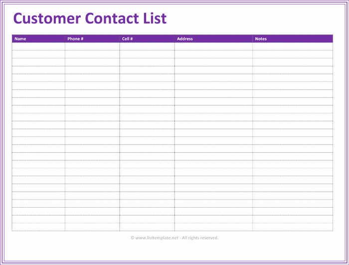 Contact List Excel Template Luxury Customer Contact List Template 5 Best Contact Lists