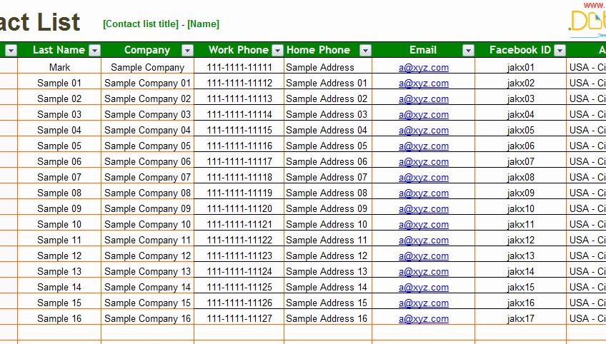 Contact List Excel Template New List Templates Dotxes