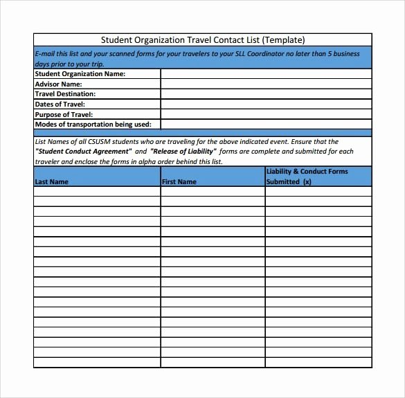 Contact List Excel Template New Pretty Excel Contact List Template 40 Phone Email