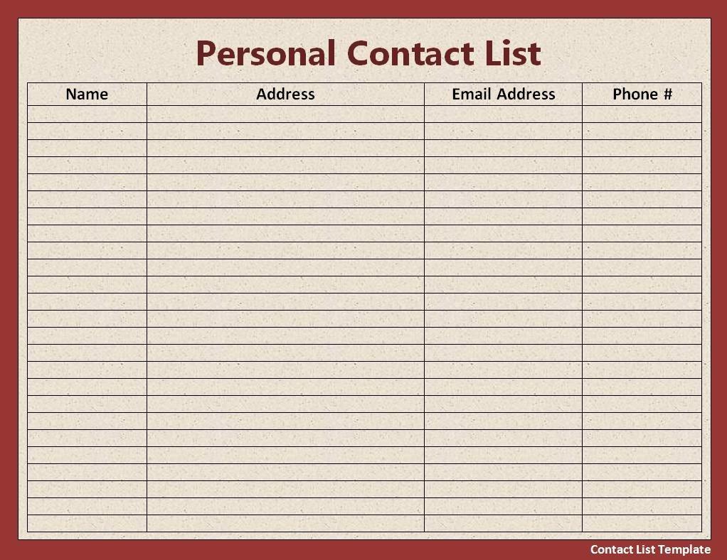 Contact List Excel Template Unique Mailing List Template