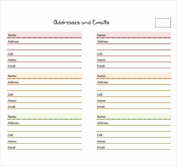 Contact List Template Pdf Elegant 10 Address Book Samples
