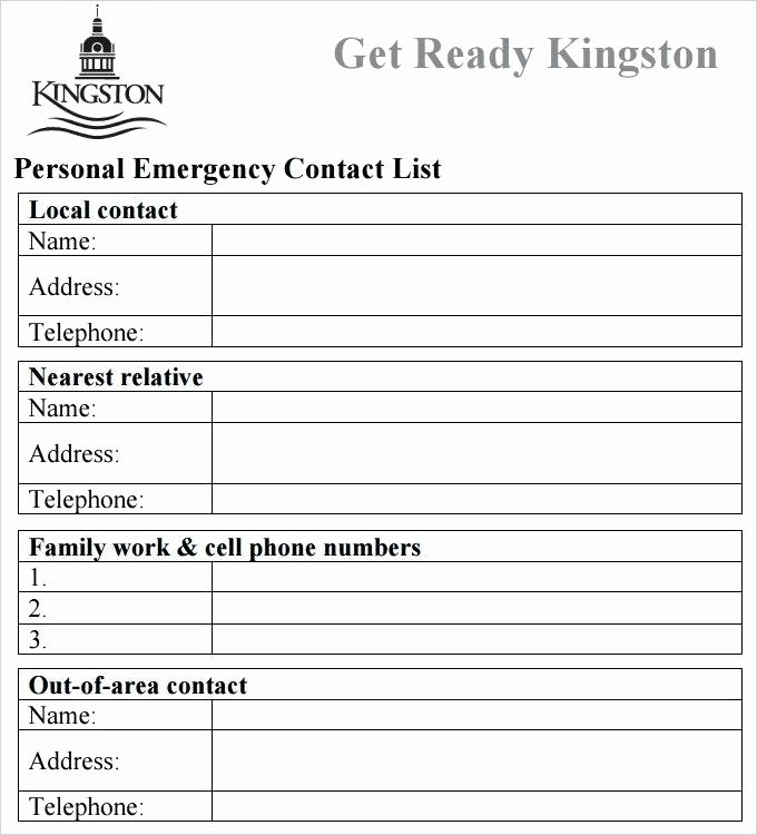 Contact List Template Pdf Elegant Business Emergency Contact List Template Emergency Contact