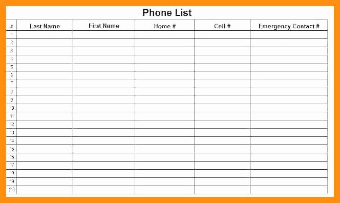 Contact List Template Pdf Luxury 11 12 Emergency Phone Numbers List Template