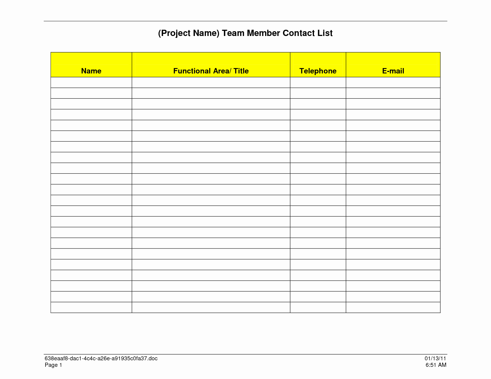 Contact List Template Pdf Luxury Sample Contact List Template