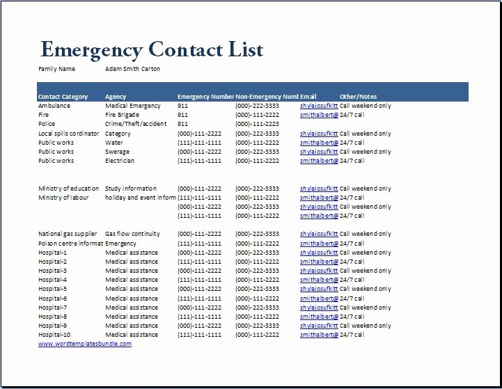 Contact List Template Pdf New Emergency Numbers List Template