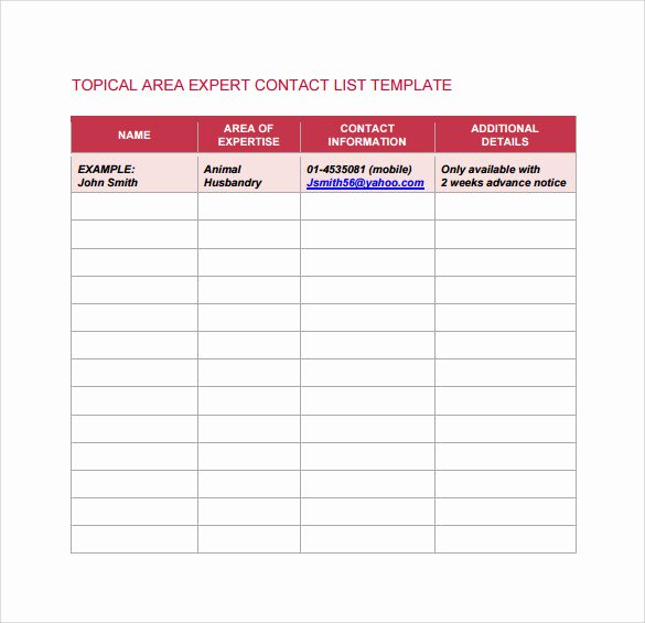 Contact List Template Pdf Unique 13 Contact List Templates – Pdf Word