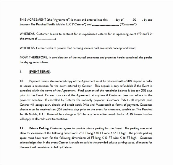 Contract for Catering Services Template Awesome 15 Sample Catering Contract Templates – Pdf Word Apple