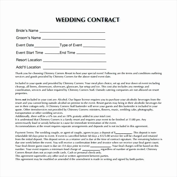 Contract for Catering Services Template Beautiful Sample Contract for Catering Services Wedding Contract