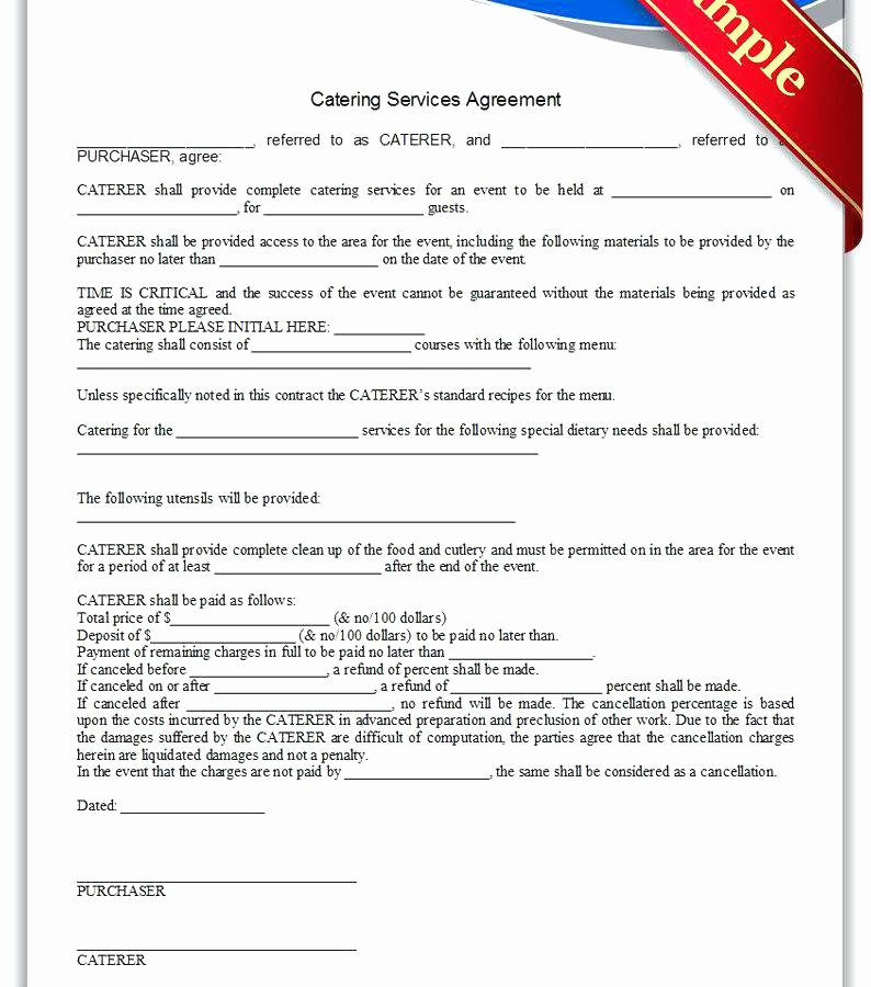 Contract for Catering Services Template Beautiful Template Word Example for Catering Services Sample Invoice