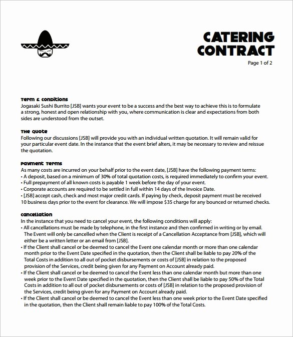 Contract for Catering Services Template Best Of Catering Contract Template 9 Download Free Documents In