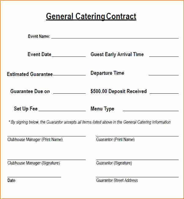 Contract for Catering Services Template Elegant 6 Catering Contract Template Free