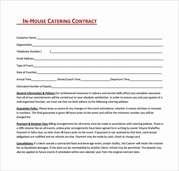 Contract for Catering Services Template Elegant Catering Contract Template 9 Download Free Documents In