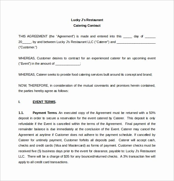 Contract for Catering Services Template Fresh Simple Contract Template 9 Download Free Documents In