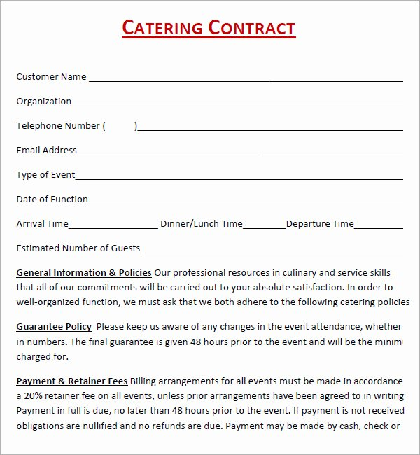 Contract for Catering Services Template Lovely Catering Contract 7 Free Pdf Download