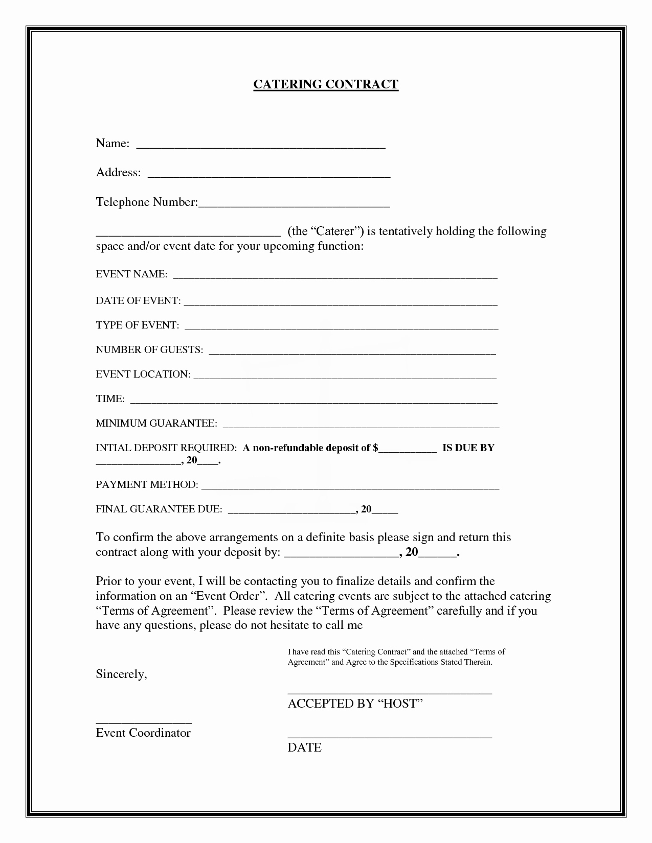 Contract for Catering Services Template Lovely Catering Contract Catering Contract Name