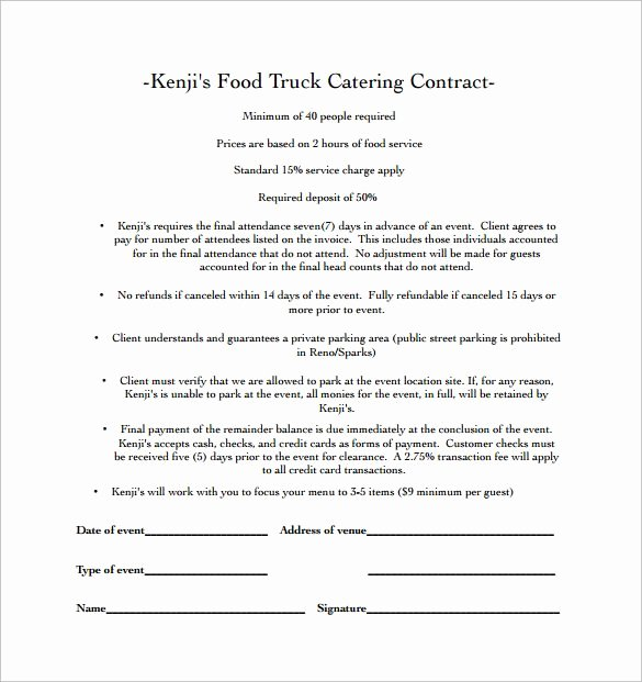 Contract for Catering Services Template Lovely Food Truck Catering Contract Pdf Free Download