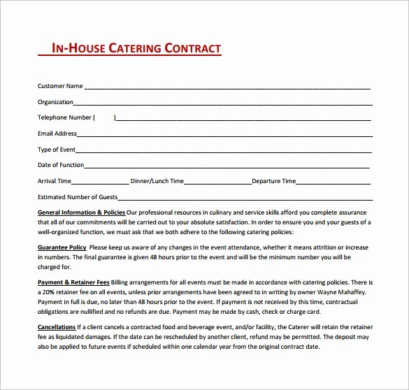 Contract for Catering Services Template Lovely In House Catering Contract Free Download In Pdf