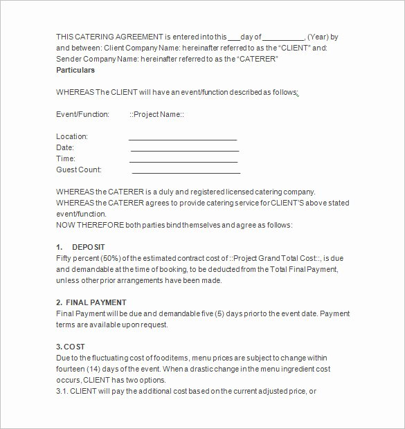 Contract for Catering Services Template New 9 Catering Contract Templates Docs Pages
