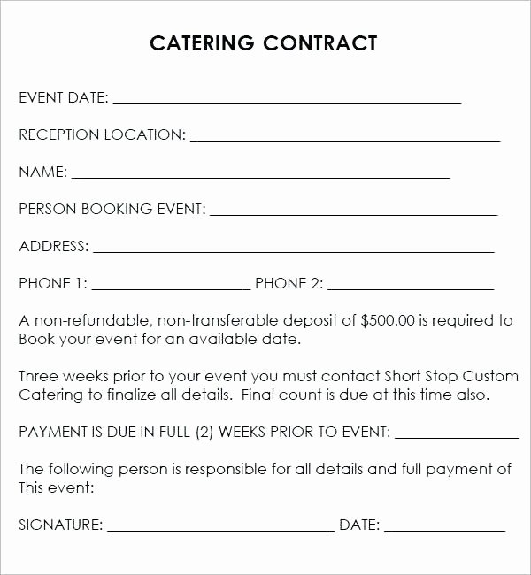 Contract for Catering Services Template New Best Catering Contract Template Word event Template