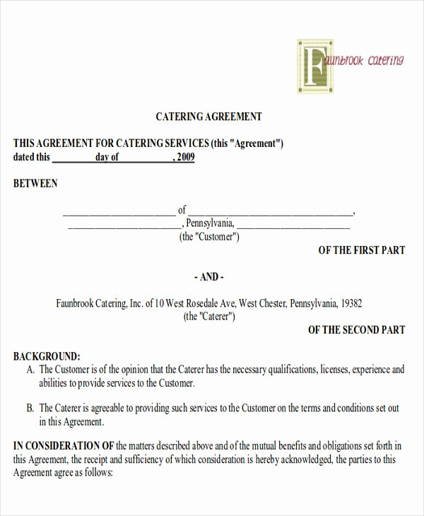 Contract for Catering Services Template Unique 8 Sample Catering Contract Agreements