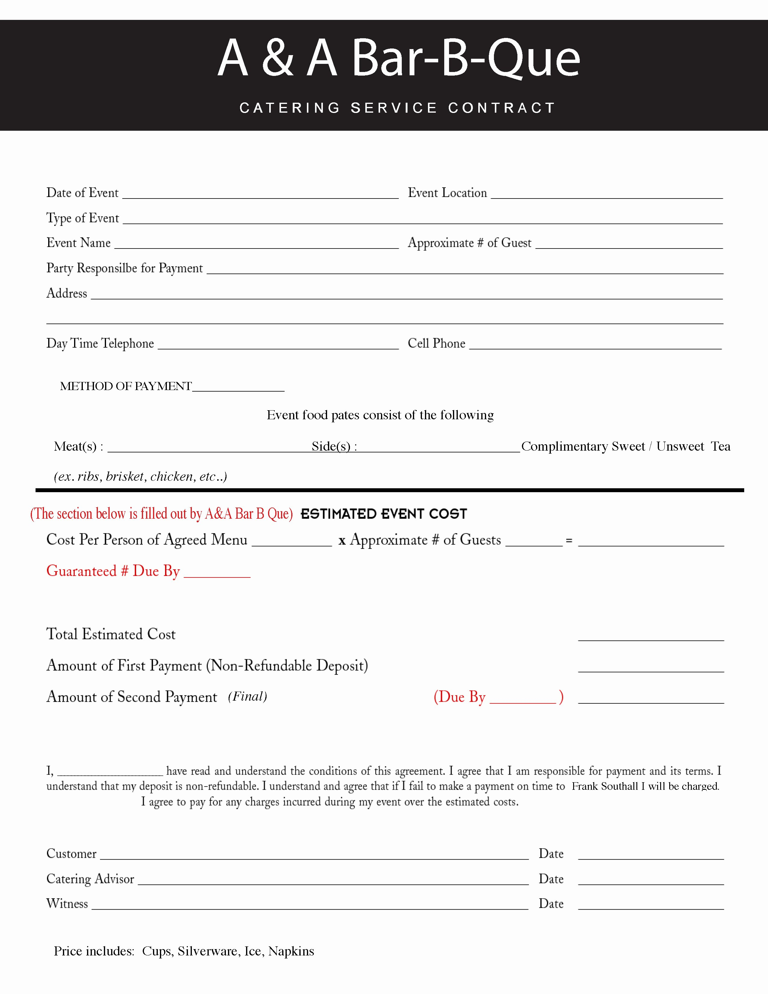 Contract for Catering Services Template Unique Contract Catering Contract Template
