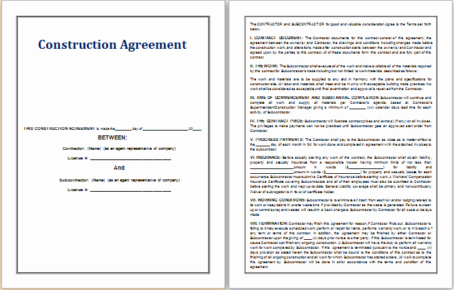 Contract for Construction Work Template Awesome Ms Word Construction Agreement Template