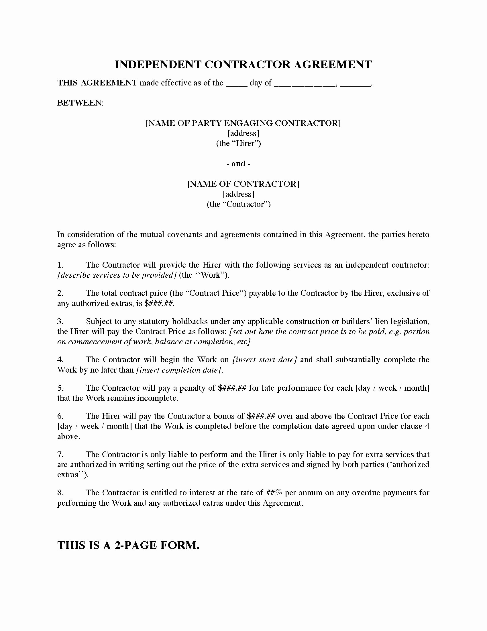Contract for Construction Work Template Best Of Contract for Construction Work Template