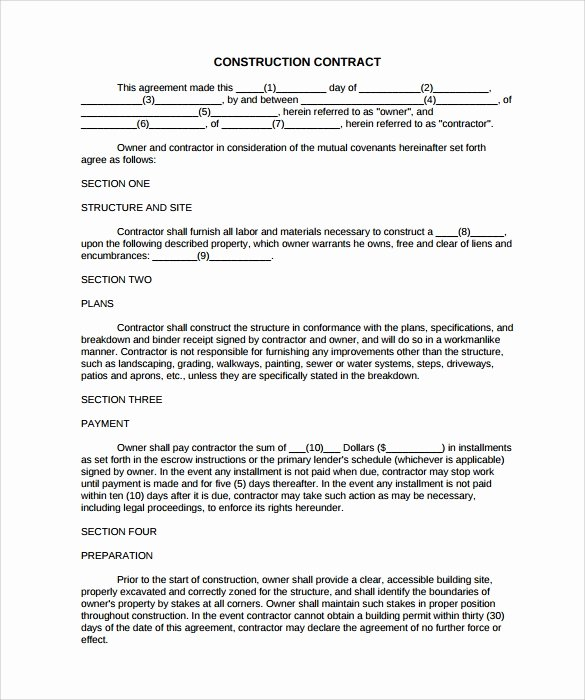 Contract for Construction Work Template Elegant 9 Construction Contract Templates – Pdf Word Pages