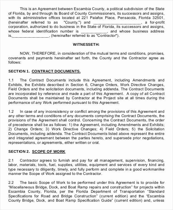 Contract for Construction Work Template Elegant Construction Contract Template 12 Word Pdf Apple