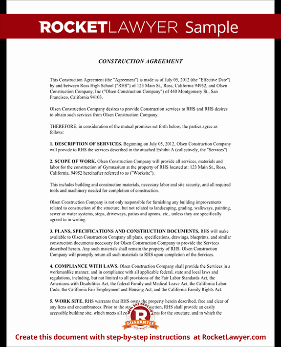 Contract for Construction Work Template Elegant Construction Contract Template Construction Agreement form