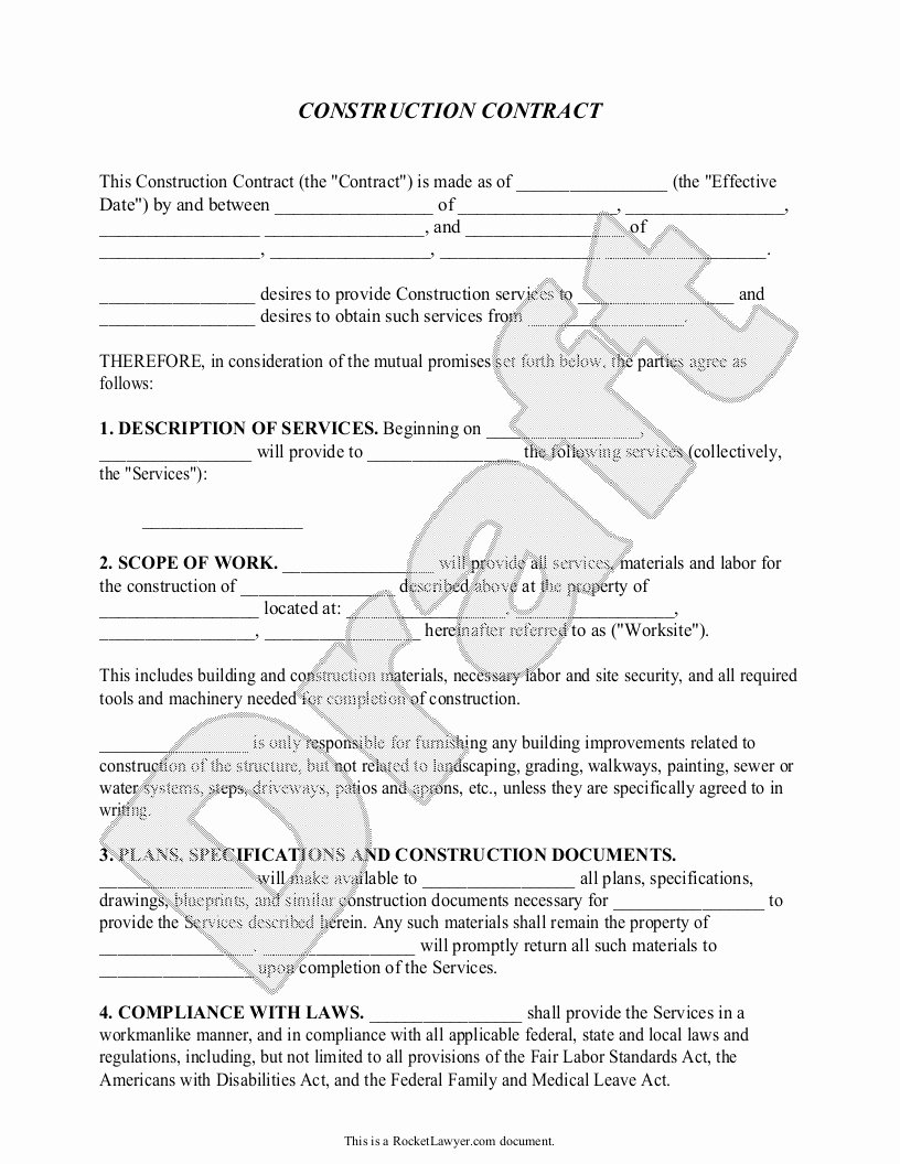 Contract for Construction Work Template Elegant Construction Contract Template