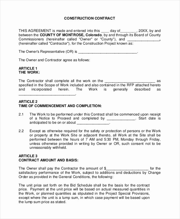 Contract for Construction Work Template Elegant Sample Construction Agreement forms 10 Free Documents