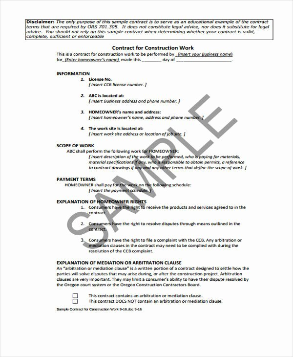 Contract for Construction Work Template Fresh 10 Work Contract Templates Apple Pages Google Docs