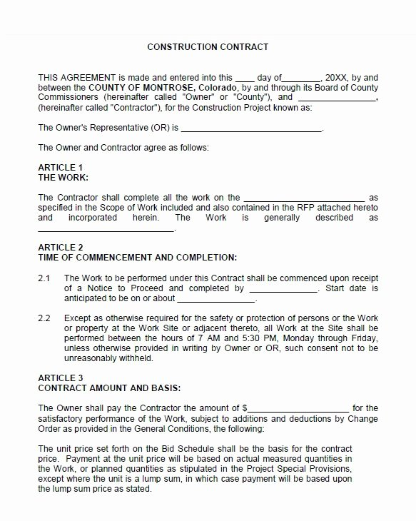 Contract for Construction Work Template Fresh 40 Great Contract Templates Employment Construction