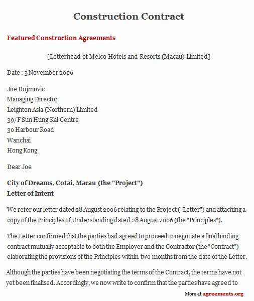 Contract for Construction Work Template Fresh Construction Contract Agreement Sample Construction