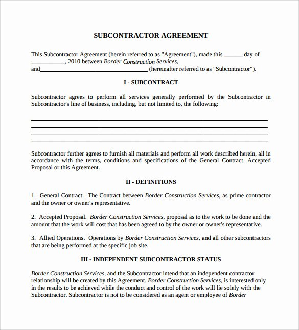 Contract for Construction Work Template Inspirational 15 Sample Subcontractor Agreements