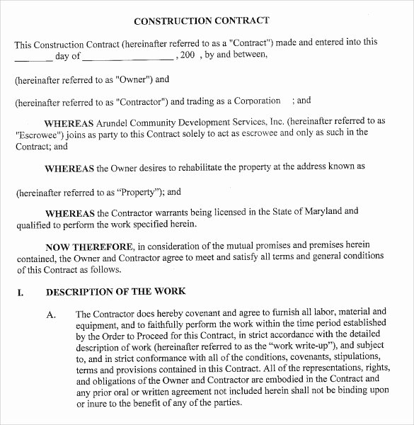 Contract for Construction Work Template New 7 Sample Contractor Proposal Templates Download for Free