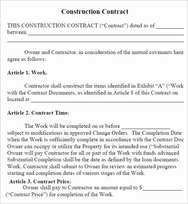 Contract for Construction Work Template New Construction Contract 7 Free Pdf Download